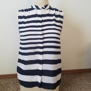 Banana Republic small navy & white striped blouse